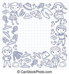 set, di, bambini, clothing., vettore, icons., kindergarten.,...