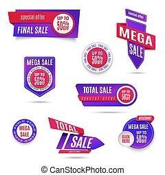 set, di, bandiera, elementi, vettore, offerta, etichetta, collezione, scontare, etichetta, disegno, vendita, web, coupons., promozione, distintivo, icone, vendita dettaglio, segno, collezione, meglio, prezzo, affari, poster.