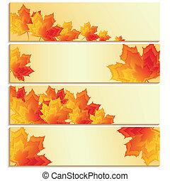 set, di, bandiere, con, giallo, arancia, acero rosso, foglie