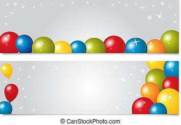 set, di, bandiere, con, palloni