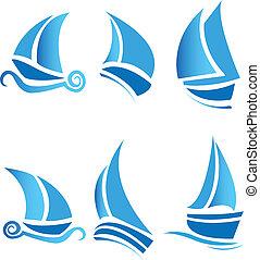 set, di, barche, navi, o, crociera