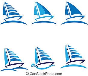 set, di, barche, vettore, logotipo, disegno