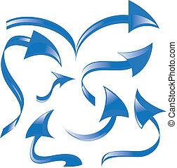 set, di, blu, frecce