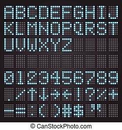 set, di, blu, lettere, su, uno, meccanico, orario, aeroporto, simboli