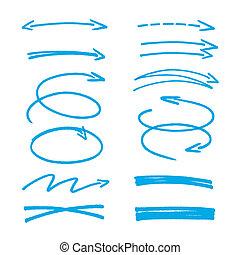 set, di, blu, schizzo, frecce
