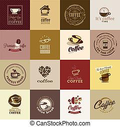 set, di, caffè, icone