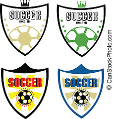 set, di, calcio, distintivo