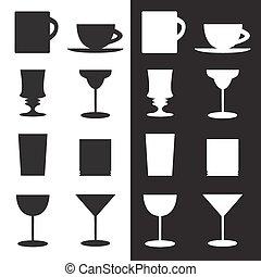 set, di, calici, campanelle, vetro, silhouette