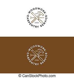 set, di, carpenteria, logotipo, con, martello chiodo, isolato, sullo sfondo, per, carpenteria, servizio