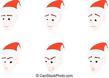 Set cartone animato emozioni faccia clipart vettoriale - Cartone animato natale agrifoglio di natale ...