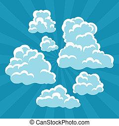 set, di, cartone animato, nubi, su, cielo, e, rays.
