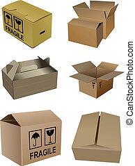 set, di, cartone, imballaggio, scatole, isola