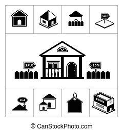 set, di, casa, icons., beni immobili, e, costruzione, collezione