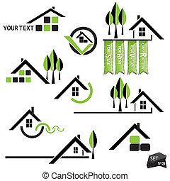 set, di, case, icone, per, affari beni immobili, bianco, fondo., con, naturale, elementi