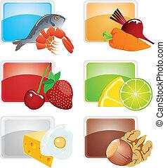 set, di, cibo, -, vettore, icone