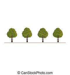 set, di, città, albero, cespuglio, siepe, decorazione, elementi