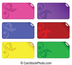 set, di, colorato, adesivi, 2