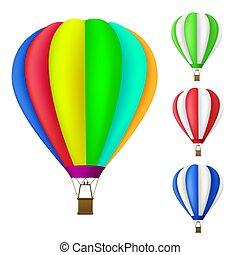 set, di, colorito, aerostato aria calda