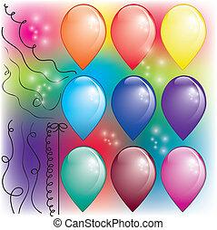 set, di, colorito, aria, palloni, con, fili