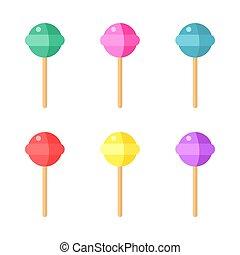 set, di, colorito, lecca lecca, bianco, fondo., vettore, illustrazione