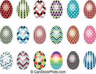 set, di, colorito, uova pasqua