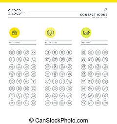 set, di, contatto, icone, per, web