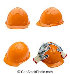 set, di, costruzione, casco, colpo, isolato, bianco