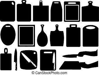 set, di, cucina, assi tagliente