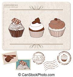 set, di, cupcakes, su, vecchio, cartolina, con, francobolli,...