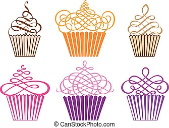 set, di, cupcakes, vettore