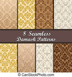set, di, damasco, seamless, modelli
