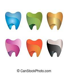 set, di, dente, icona, ., vettore, illustrazione, isolato, bianco, fondo