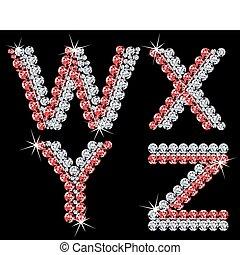 set, di, diamante, alfabetico, letters., vettore, (7)