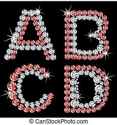 set, di, diamante, alfabetico, letters., vettore