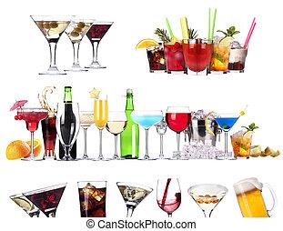 set, di, differente, bevande alcoliche, e, cocktail