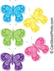 set, di, differente, colorato, farfalle