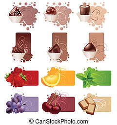 set, di, differente, colorito, cornici, con, dolci, e, frutte