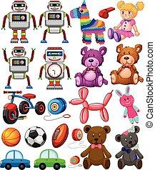 set, di, differente, giocattoli