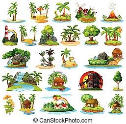 set, di, differente, isole