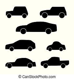 set, di, differents, automobile, silhouette