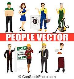 set, di, diverso, persone., vario, professions., corriere, fiera, ostesse, riparatore, aspirapolvere, agente bene immobile, architetto, cameriere