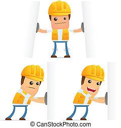 set, di, divertente, cartone animato, costruttore