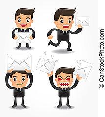 set, di, divertente, cartone animato, impiegato, con, email, icona