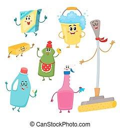 set, di, divertente, pulizia casa, caratteri, detersivi, secchio, mocio, spugna