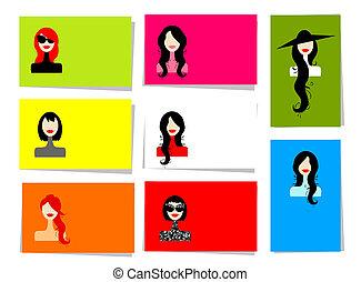 set, di, donna, ritratti, 10, cartelle, per, tuo, disegno,...