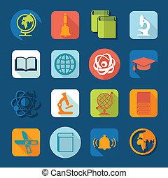 set, di, educazione, icone