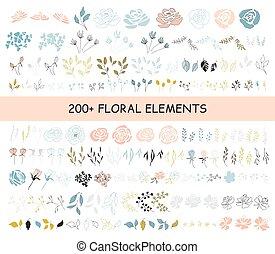 set, di, elementi floreali