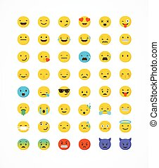 set, di, emoticons, emoji, isolato, bianco, fondo, vettore, illustrazione
