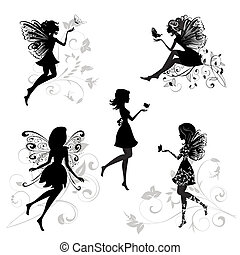 set, di, fate, con, farfalle