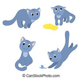 set, di, felice, gatti, 2.